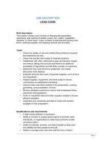 Chef Duties by Lead Cook Description Template Sle Form Biztree