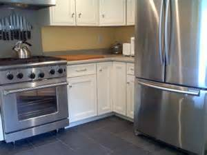 white kitchen slate floor home decoration