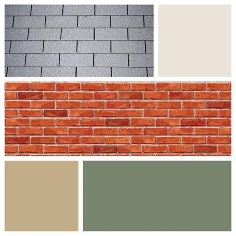 exterior color scheme for brick and gray roof moss green door siding and light