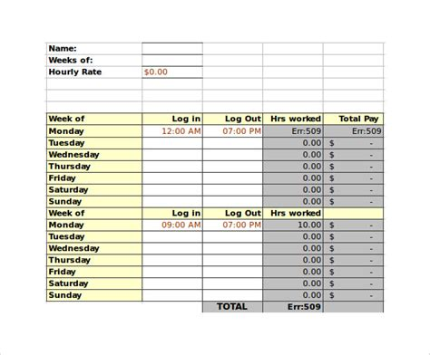 7 Sle Biweekly Timesheet Calculators Sle Templates Employee Bi Weekly Timesheet Template