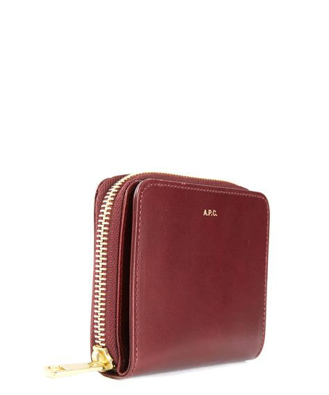 Dompet F Maroon Wallet a p c burgundy zip around compact leather wallet in purple lyst