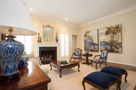 british colonial traditional living room houston