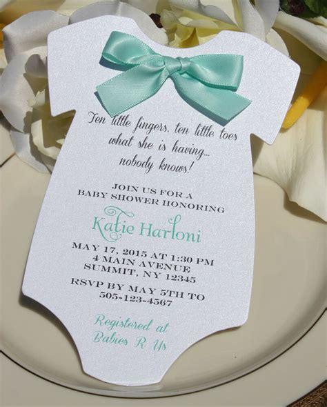 Baby Shower Invitation For Boy Or Girlwith Aqua Satin Bow Ebay Baby Invitation Template