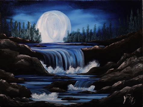 acrylic painting waterfalls moon river step by step acrylic painting on canvas for