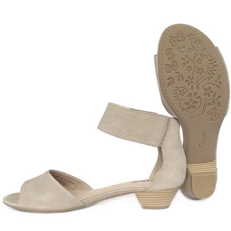 beige sandals low heel gabor elvira s modern trendy ankle sandals