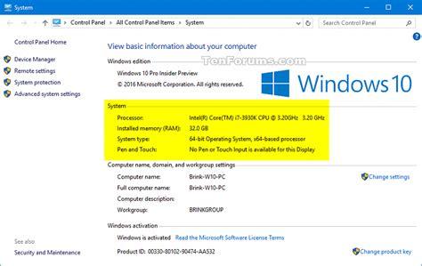 windows 10 control panel tutorial system information see in windows 10 windows 10