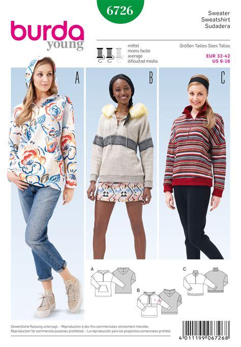 sweatshirt pattern burda burda 6726 misses pullover hoodie