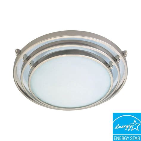 plc lighting 1 light ceiling satin nickel flush mount with