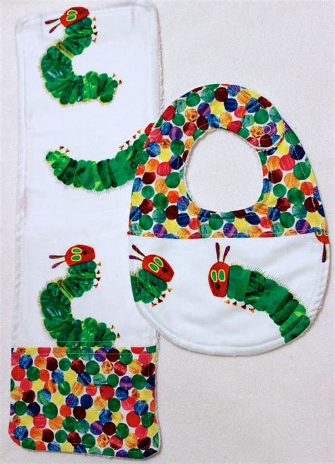 Handmade Baby Bibs And Burp Cloths - the hungry caterpillar handmade baby bib and burp by
