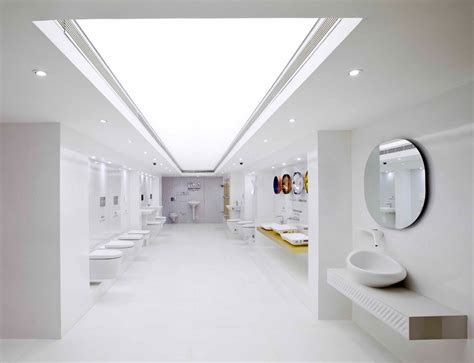 modern bathroom showroom nu de interpolates crystalline forms on emporio showroom