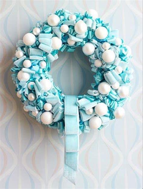 blue and white christmas wreaths holidays pinterest