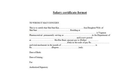 Sle Salary Certificate Letter Doc Salary Certificate Format