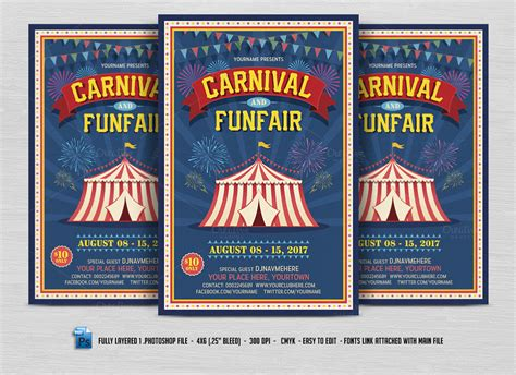 templates for carnival flyers carnival fun fair flyer flyer templates on creative market