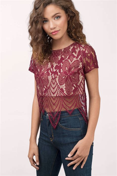 Top Lace Crop cheap wine crop top top scallop top 19 00