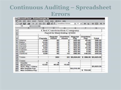 Spreadsheet Errors by Ppt Chapter 12 Information Technology Auditing
