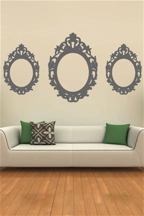 baroque wall stickers wall decals oval baroque frame walltat without