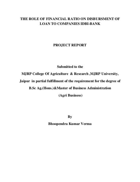 Mba Agribusiness In Banks the of financial ratio on disbrusment of loan to