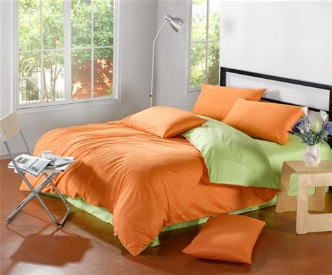 Green And Orange Bedding Sets Cotton Apple Green Orange Solid Pattern Satin Duvet Comforter Covers King Bed In A Bag Sets 4