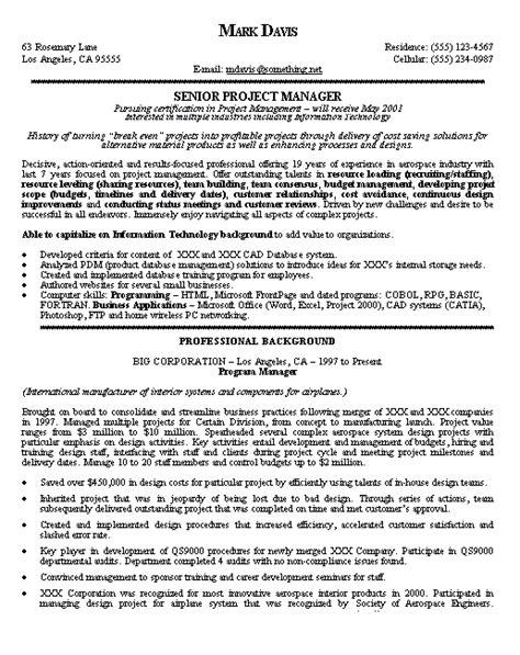 program management resume exles project manager resume exle project manager resume