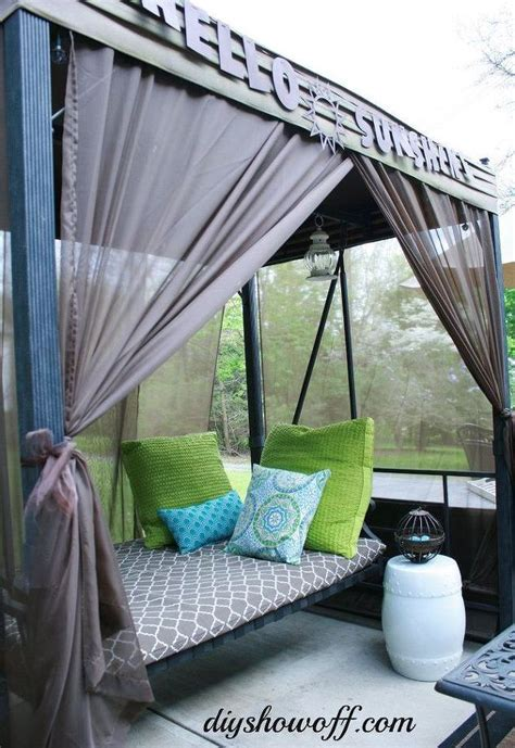 covered patio curtains how to add curtains to an outdoor covered patio swing