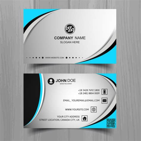 business card template grey grey business card with blue elements vector free
