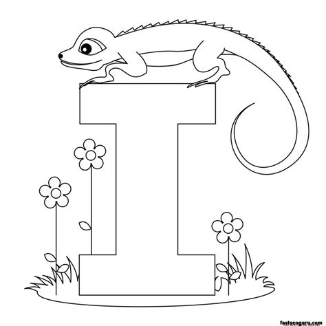 preschool iguana coloring page printable alphabet worksheets letter i for iguana for