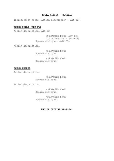 screenplay outline template blade runner done in sixty