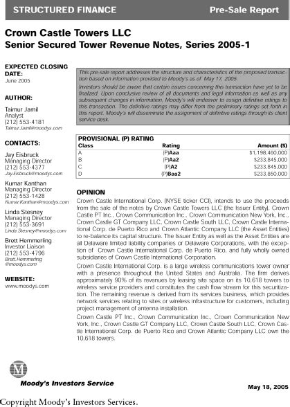 APPENDIX E: Crown Castle Towers LLC, Senior Secured Tower