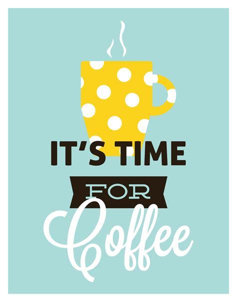 Poster 52 And Coffee coffee retro kitchen it s time for coffee polka dot mug modern print