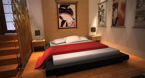 modern asian bedroom modern japanese bedroom 3d model max cgtrader com
