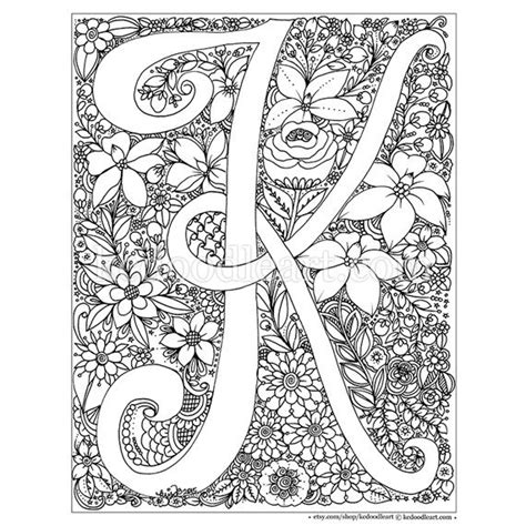K Coloring Pages For Adults by Instant Digital Coloring Page Letter K