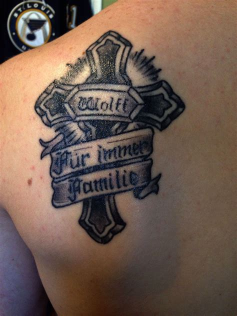 last name tattoo ideas cross with family last name and quot forever family quot in