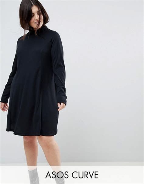asos curve swing dress asos curve asos curve swing dress in rib with polo neck