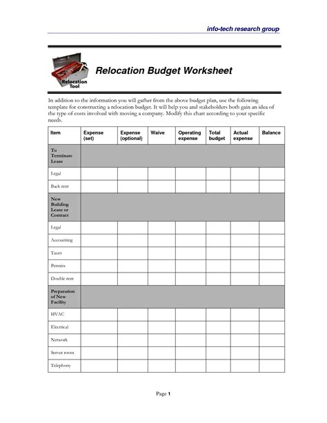 Moving Budget Worksheet Worksheets For All Download And Share Worksheets Free On Bonlacfoods Com Moving Expenses Template