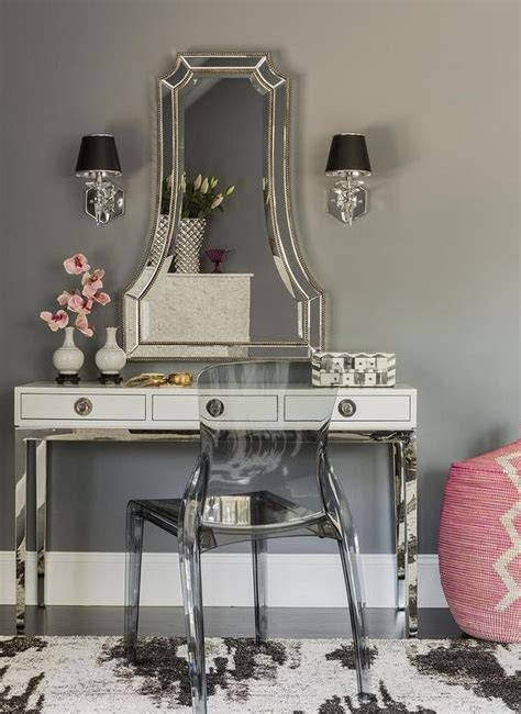 glam mirrored vanity stool glam bedroom pinterest channing mirror design ideas