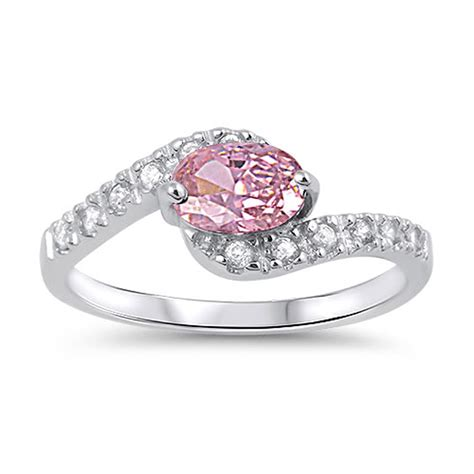 sterling silver s pink cz engagement ring promise