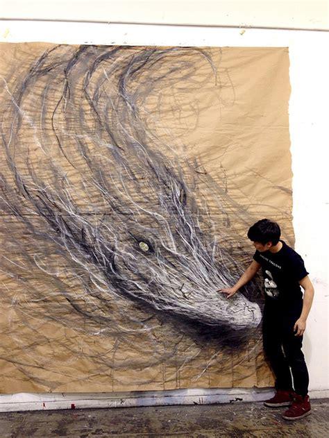 tutorial menggambar hewan 3d cara desain hewan 3d yang dibuat dari charcoal cat