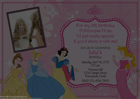 princess birthday invitations template free invitations