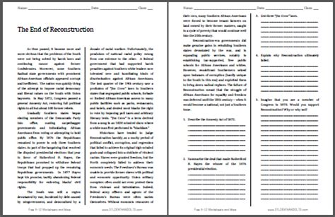 The Politics Of Reconstruction Worksheet Answers by The End Of Reconstruction Free Printable American