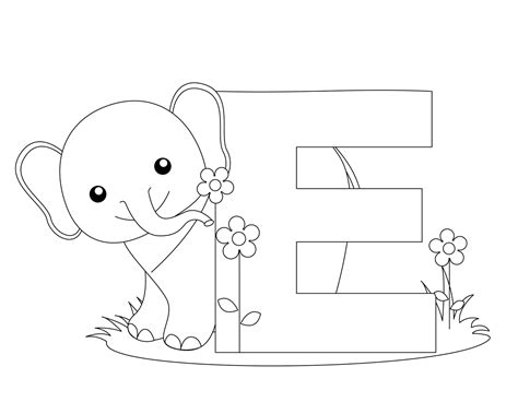 coloring pages with letter e animal alphabet letter e coloring elephant child