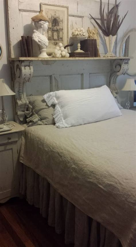 repurposed mantel for shabby chic headboard love this