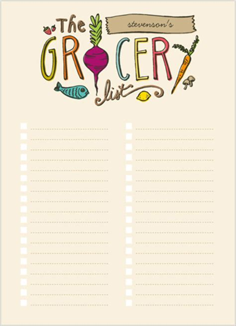 free printable grocery list paper the grocery list 5x7 notepad custom notepads shutterfly