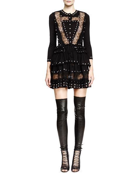Minidress Givency lyst givenchy studded lace inset mini dress in black