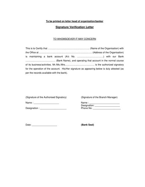 Bank Letter Verification Sle application letter for signature verification to bank