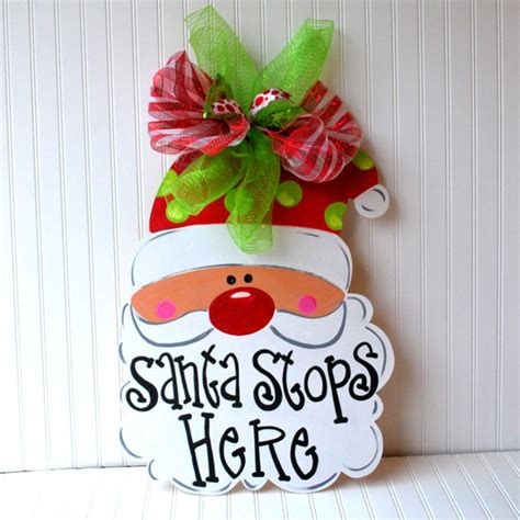 christmas decor christmas door decoration santa door hanger