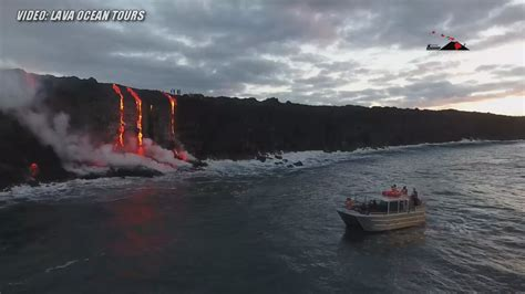 lava ocean entry boat tours video hawaii lava entry captured by land sea and air