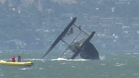 sailing catamaran capsize oracle racing catamaran capsizes in san francisco bay