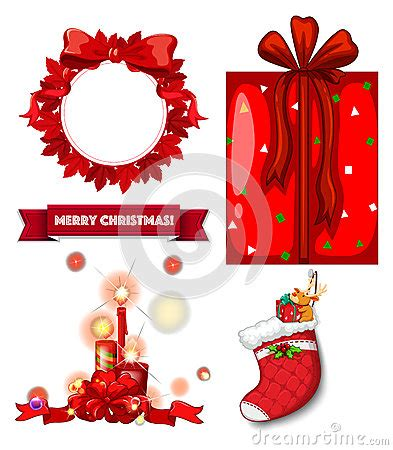 christmas decorations flashcards colour stock illustration image 56104922
