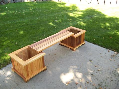 wooden bench with planters wood country planter bench set