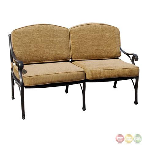 patio furniture upholstery charleston 7pc cast aluminum outdoor sofa group 10632263